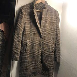 Brown Plaid long blazer jacket S